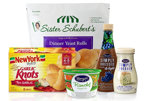 A grouping of packages: Sister Schubert's® Dinner Yeast Rolls; New York BRAND® Bakery Garlic Knots; Marzetti® Ranch veggie dip; Marzetti Simply Dressed® & Light Vinaigrette; and Marzetti Simply Dressed blue cheese salad dressing.
