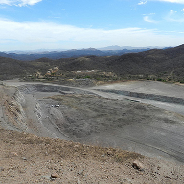 Looking southwest at the Samanegio open pit, inside of El Gallo Mine on May 9th