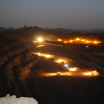 El Gallo Mine in Sinaloa, Mexico. Overlooking the Samanegio open pit to the southwest at night.