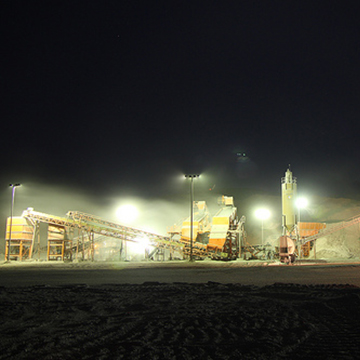 El Gallo Mine crushing plant in Sinaloa, Mexico. As seen in the photo the mine operates 24 hours a day, 7 days a week.
