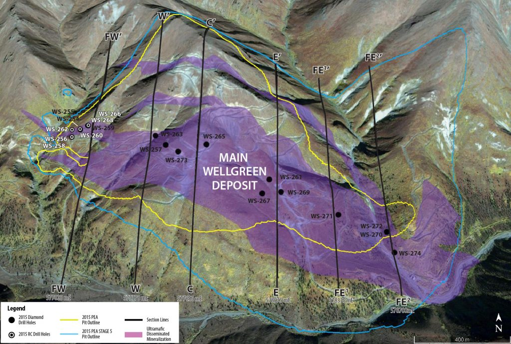 Figure 1 - Plan Map of Wellgreen Deposit with 2016 Drilling Target Areas