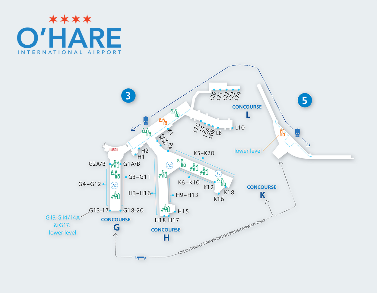 Chicago O'Hare L-Stringer gate map