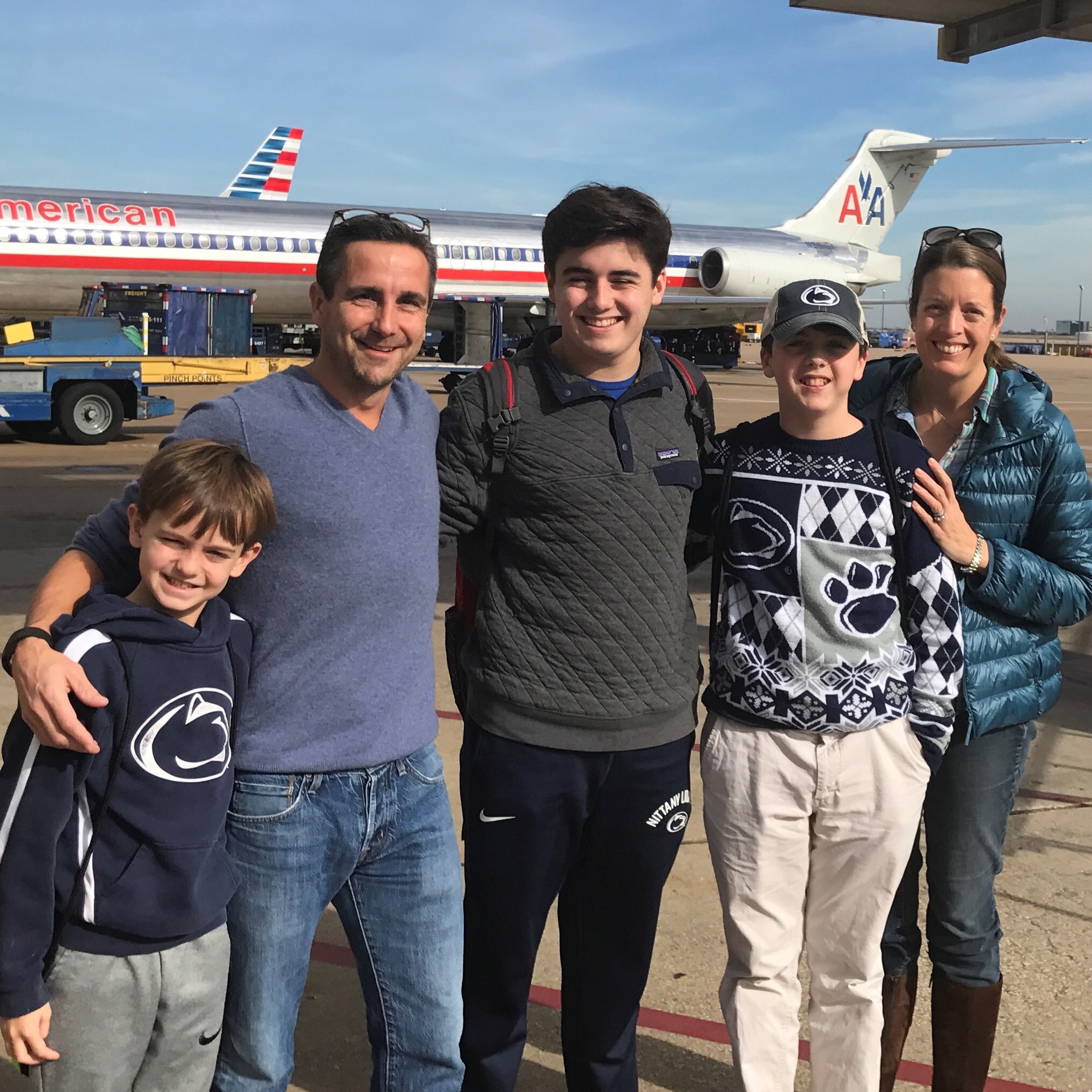 The Pegler family stop to pose in front of an MD-80 on their way to the Rose Bowl in January 2017.