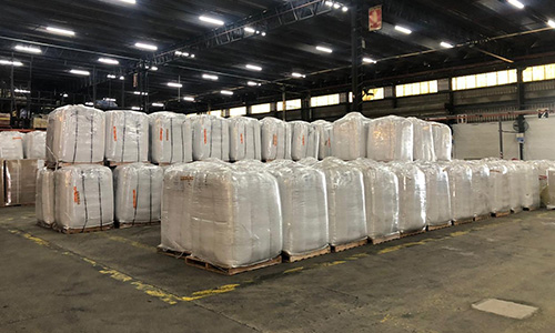 More than 115,000 pounds of soybean seeds wait in the Buenos Aires cargo terminal before the flight to Miami.