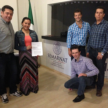 The McEwen Mining team receiving the El Gallo Silver permit that allows the company to begin construction.