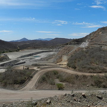 Looking north at the Samanegio open pit, inside of El Gallo Mine on May 9th