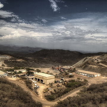 Aerial photo of El Gallo Mine in Sinaloa, Mexico.