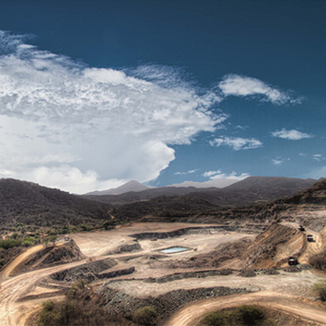 El Gallo Mine in Sinaloa, Mexico. Overlooking the Samanegio open pit. Looking to the northwest.