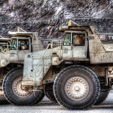 100 tonne Terex haul trucks working at the El Gallo Mine in Sinaloa, Mexico.