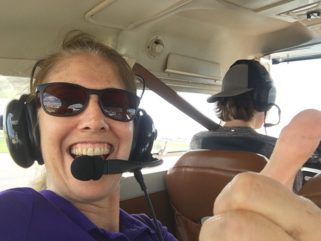 Nora Ellis on her son's orientation flight in 2017