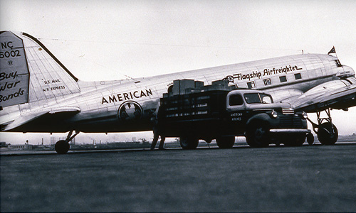 American began cargo service Oct. 15, 1944 on a Douglas DC-3.