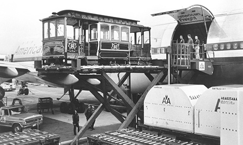 Throughout the years, American has flown unique cargo, including horses, helicopters, a trolley car and a variety of vehicles, including a Rolls Royce and a DeLorean.