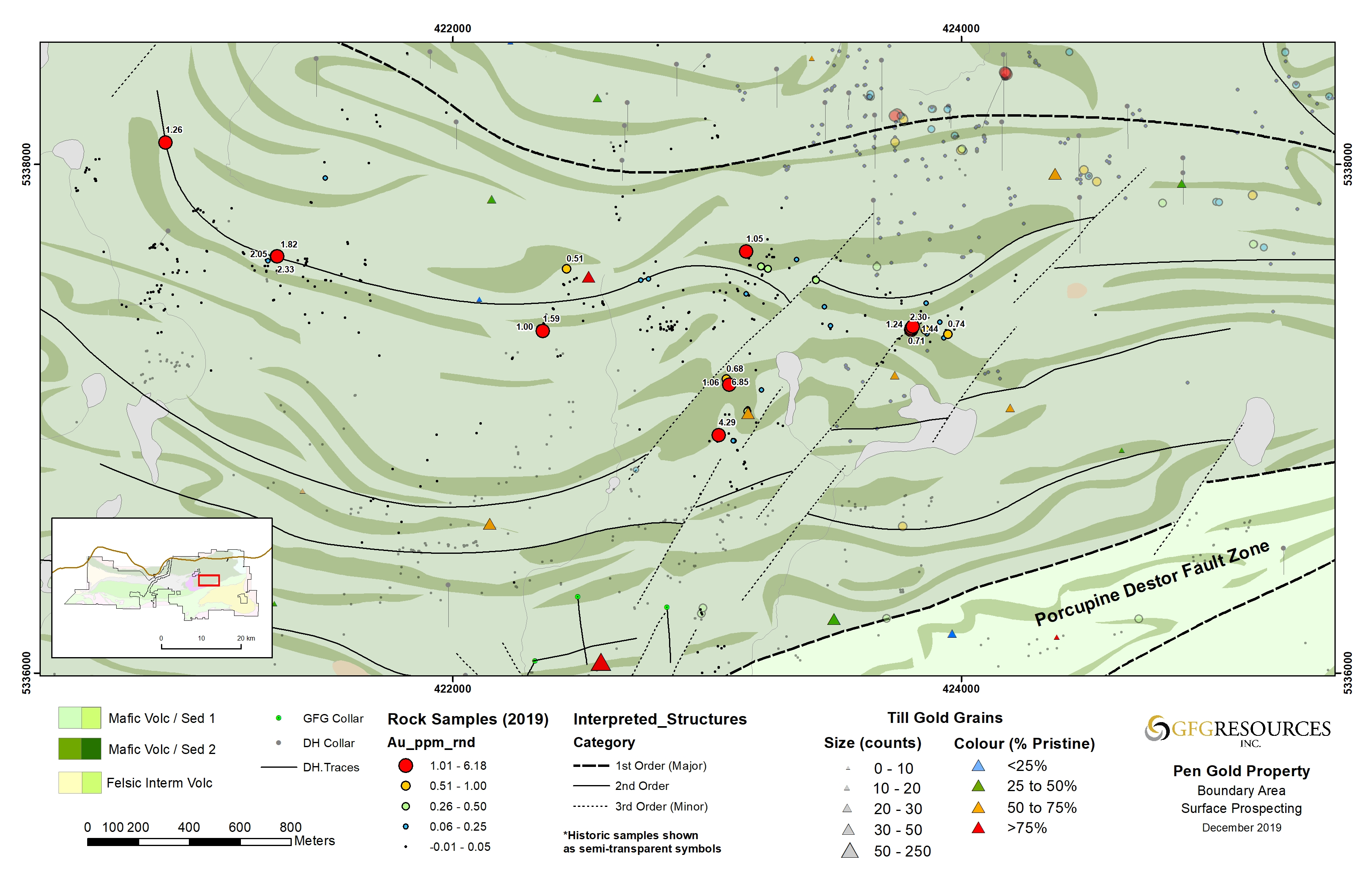 Fig 2: Surface sampling results from the Boundary target at the Pen Gold Project