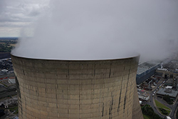 High elevation shot of a cooling tower