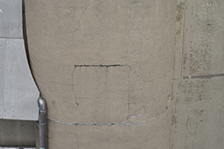 A crack discovered on the cooling tower exterior
